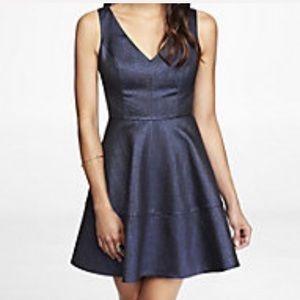 Express Metallic jacquard fit and flare dress